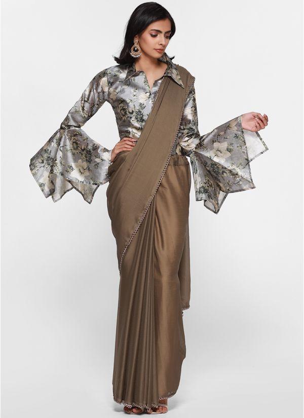 Elegant Satin Contrast Floral Print Blouse Saree