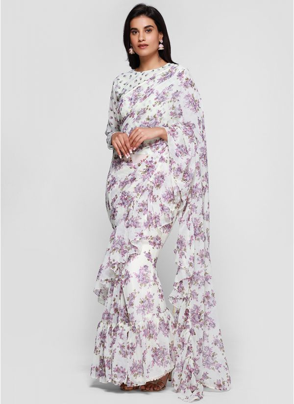 Breezy Floral Print On Print Frill Saree