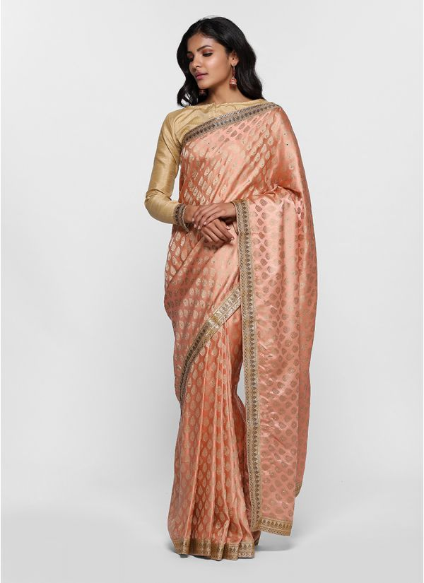 Classic Silk Jacquard Gold Blouse Saree