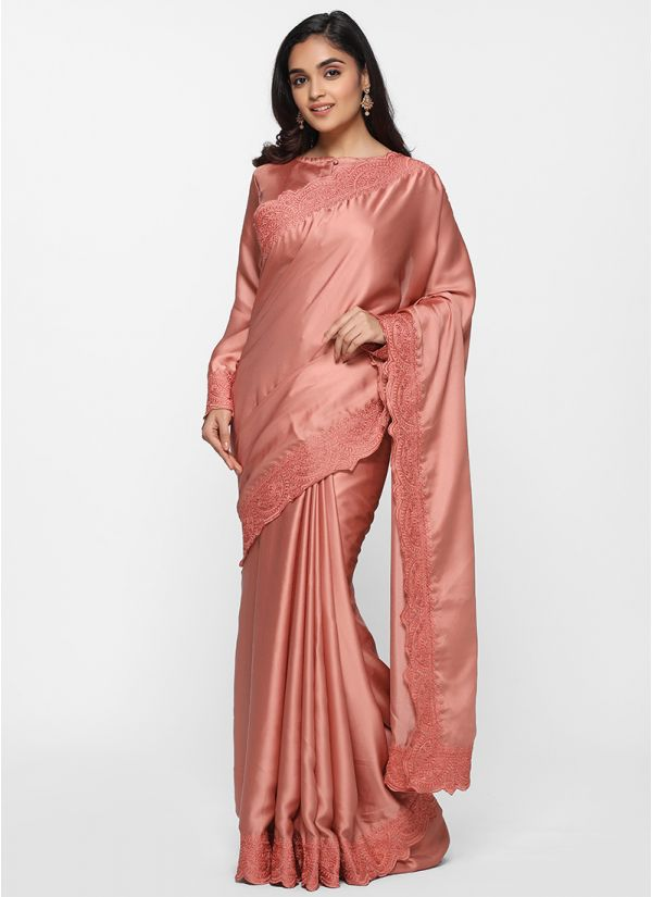 Satin Tonal Thread Border Saree