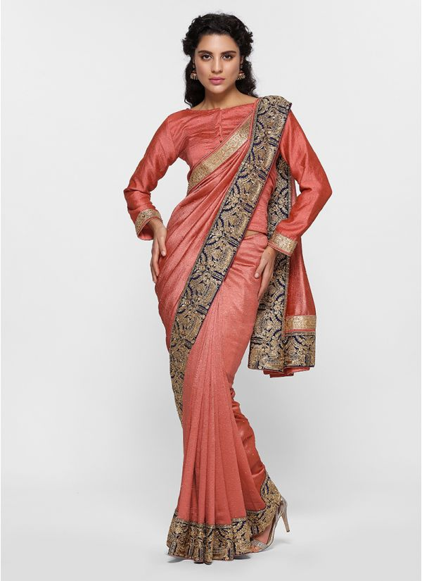 Contrast Silk Zari Border Saree
