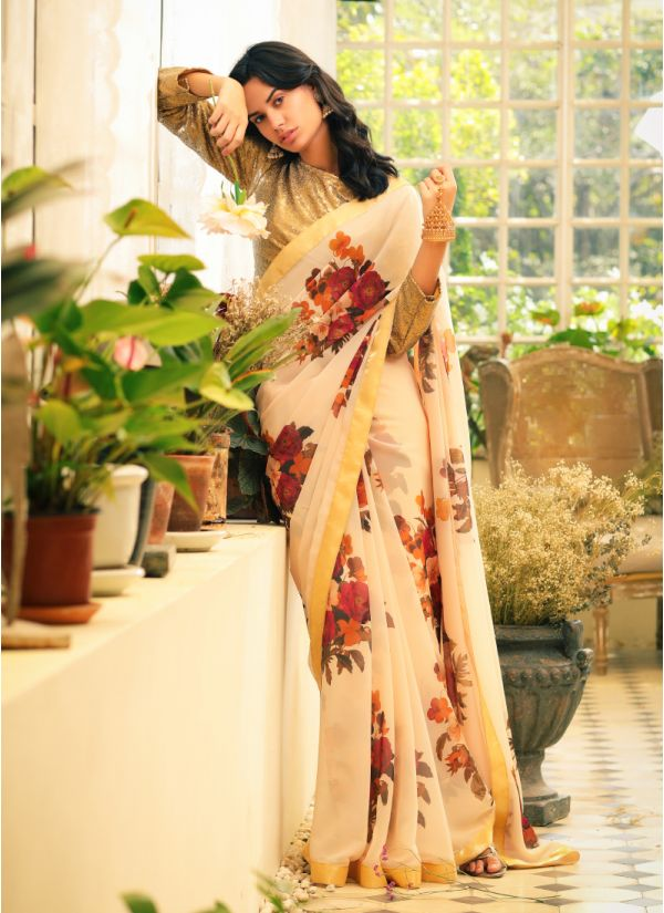 Digital Floral Print Sequins Blouse Saree