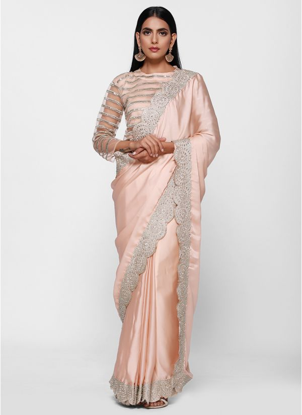 Pretty Satin Zari Embroidered Border Saree
