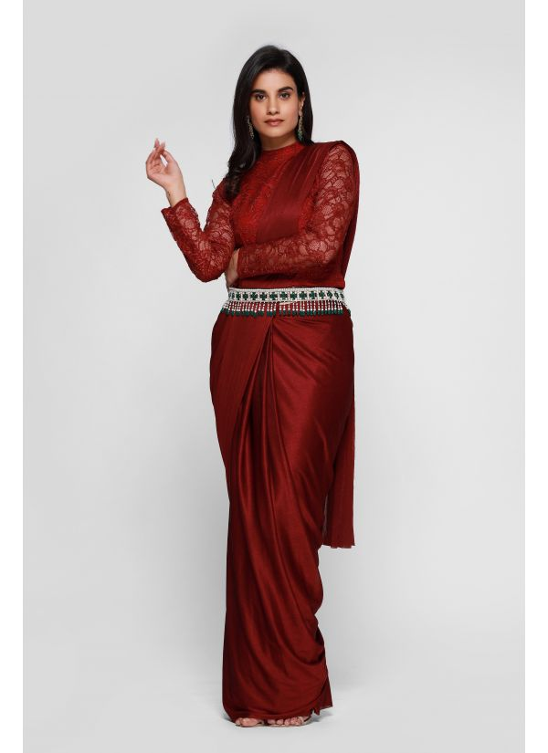 Maroon Lycra Lace Blouse Stitched Saree