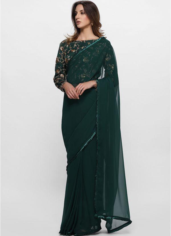 Emerald Satin Trim Stitched Saree