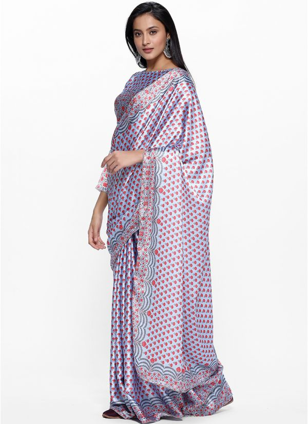Traditional Digital Print on Print Saree