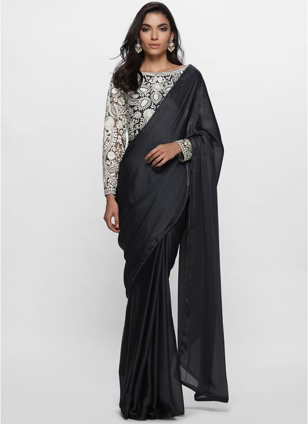 Contrast Embroidered Satin Saree