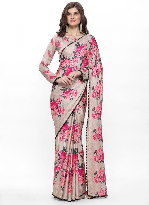 Beige Digital Floral Print on Print Saree