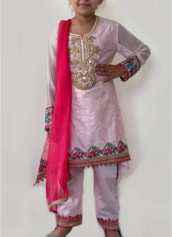 Kids Light Pink Embroidered Suit