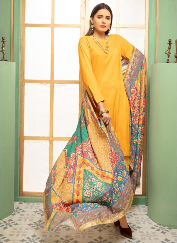 Yellow Linen Printed Shawl Dupatta Suit Set