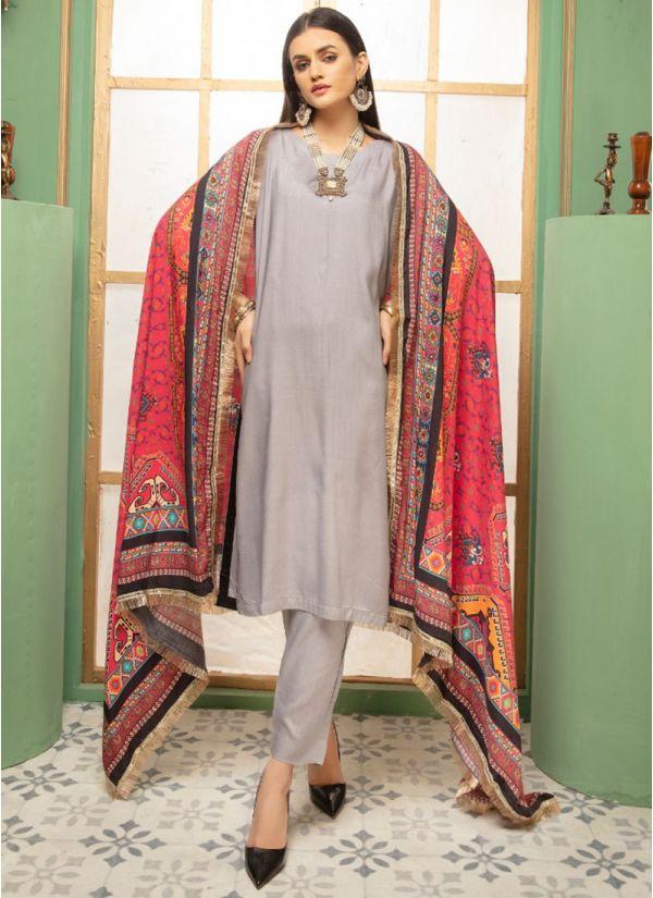 Grey Linen Printed Shawl Dupatta Suit Set