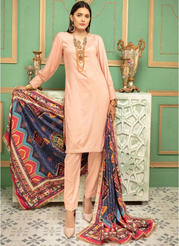 Peach Linen Printed Shawl Dupatta Suit Set