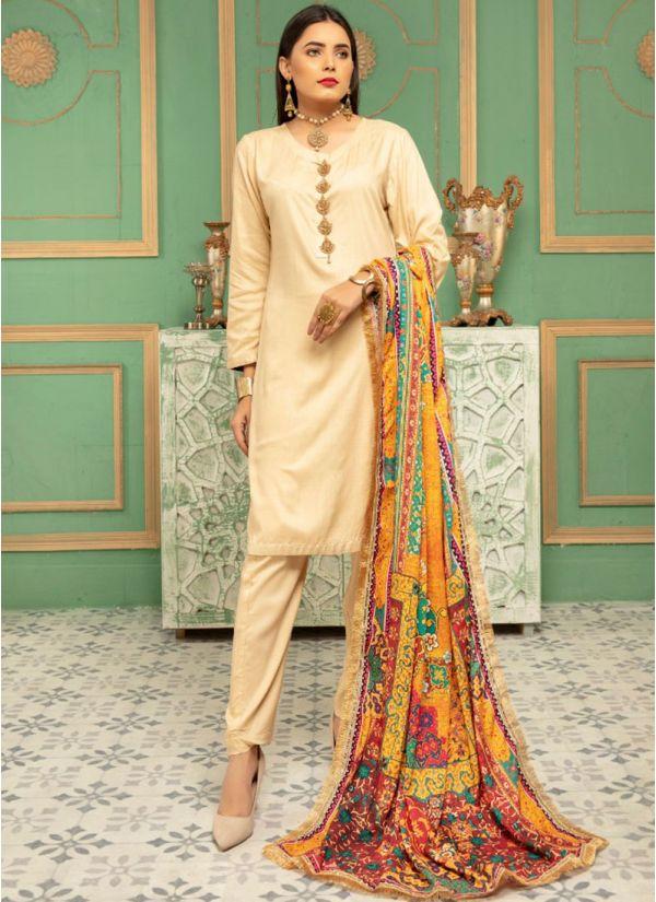 Beige Linen Printed Shawl Dupatta Suit Set