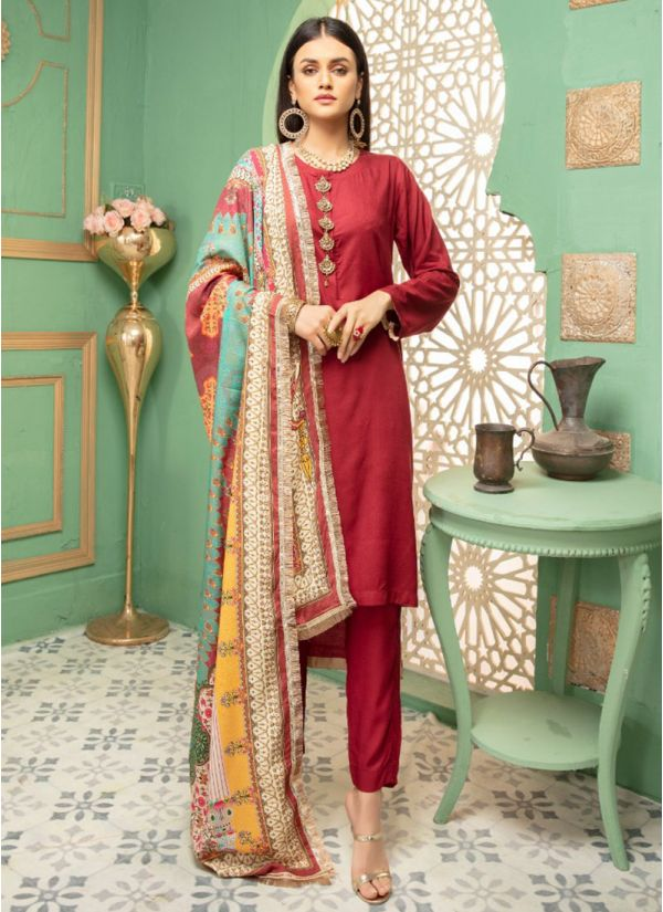 Red Linen Printed Shawl Dupatta Suit Set
