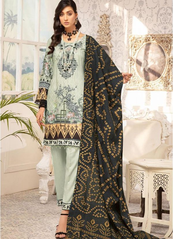 Green Embroidered Linen Suit