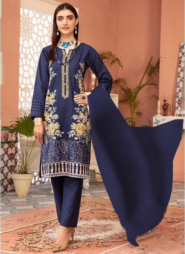 Navy Embroidered Pakistani Suit