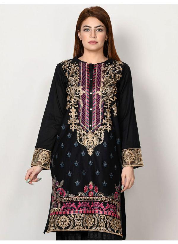 Black Embroidered Pakistani Suit