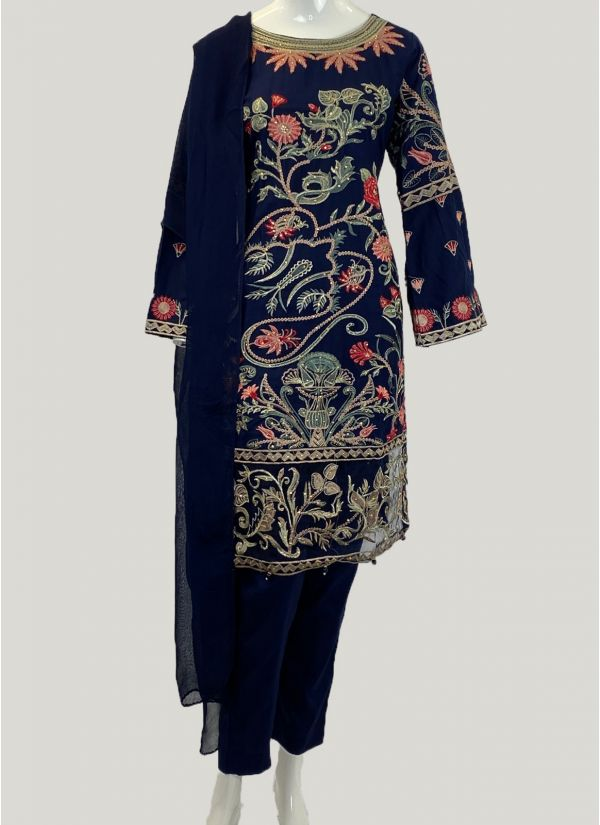 Navy Embroidered Suit