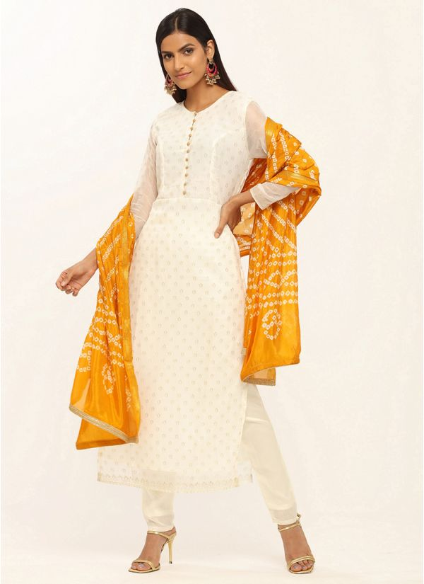 Cream Chiffon Suit With Bandhani Dupatta